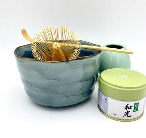 Matcha sæt med blå skål og Cerimonial matcha te
